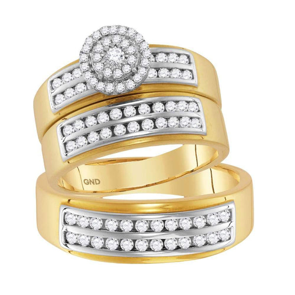 14kt Yellow Gold His & Hers Diamond Solitaire Matching Bridal Wedding Ring Band Set 7/8 Cttw-Gold & Diamond Wedding Jewelry-JadeMoghul Inc.