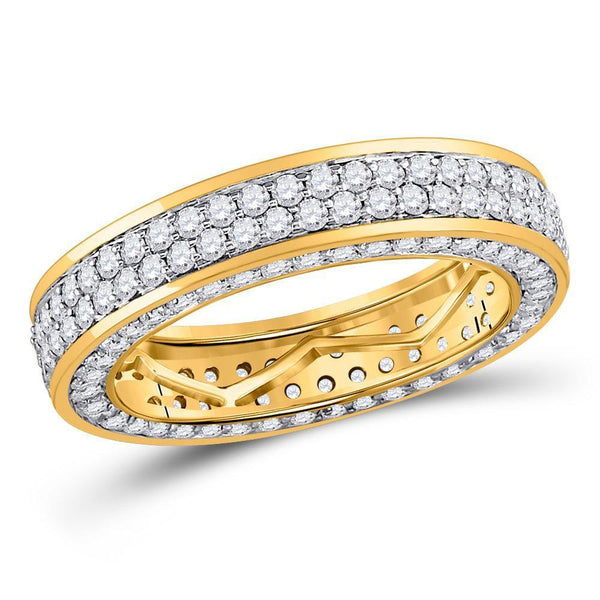 14kt Yellow Gold Mens Diamond Double Row Eternity Wedding Band Ring 3.00 Cttw-Gold & Diamond Men Rings-JadeMoghul Inc.
