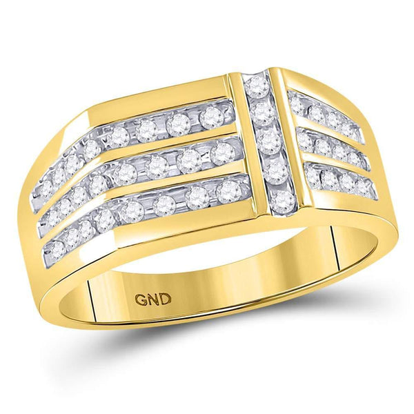 14kt Yellow Gold Mens Diamond Triple Row Intersecting Fashion Ring 1/2 Cttw-Gold & Diamond Men Rings-JadeMoghul Inc.