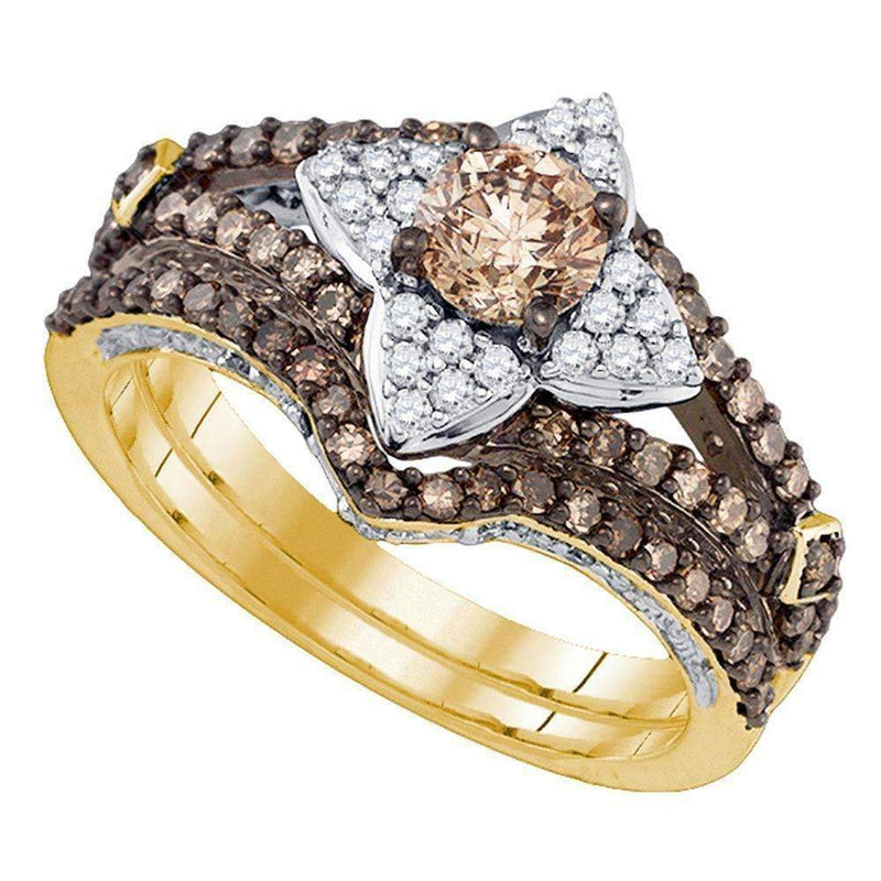 14kt Yellow Gold Women's Cognac-brown Color Enhanced Diamond Bridal Wedding Engagement Ring Band Set 1-1/3 Cttw - FREE Shipping (US/CAN)-Gold & Diamond Wedding Ring Sets-5.5-JadeMoghul Inc.