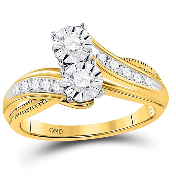 14kt Yellow Gold Women's Diamond 2-stone Bridal or Engagement Ring 1/2 Cttw-Gold & Diamond Wedding Jewelry-JadeMoghul Inc.