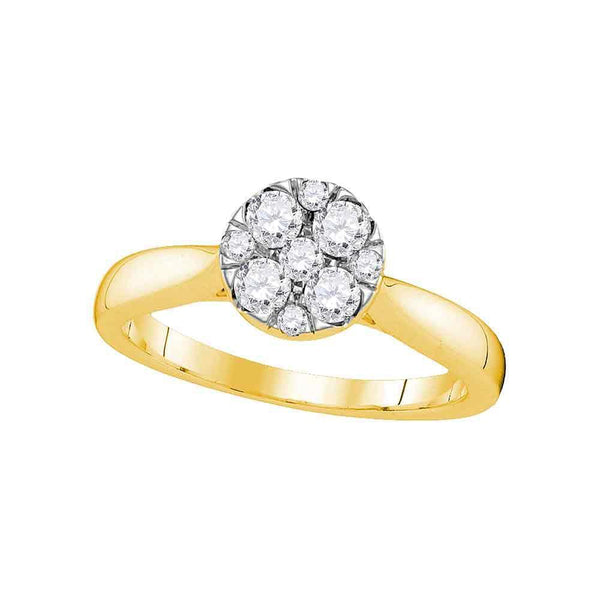 14kt Yellow Gold Women's Diamond Cluster Bridal or Engagement Ring 1/2 Cttw-Gold & Diamond Wedding Jewelry-JadeMoghul Inc.