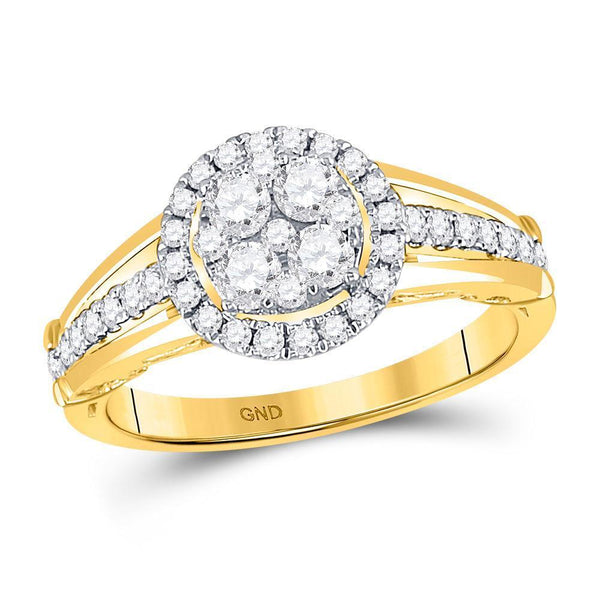 14kt Yellow Gold Women's Diamond Cluster Bridal or Engagement Ring 3/4 Cttw-Gold & Diamond Wedding Jewelry-JadeMoghul Inc.