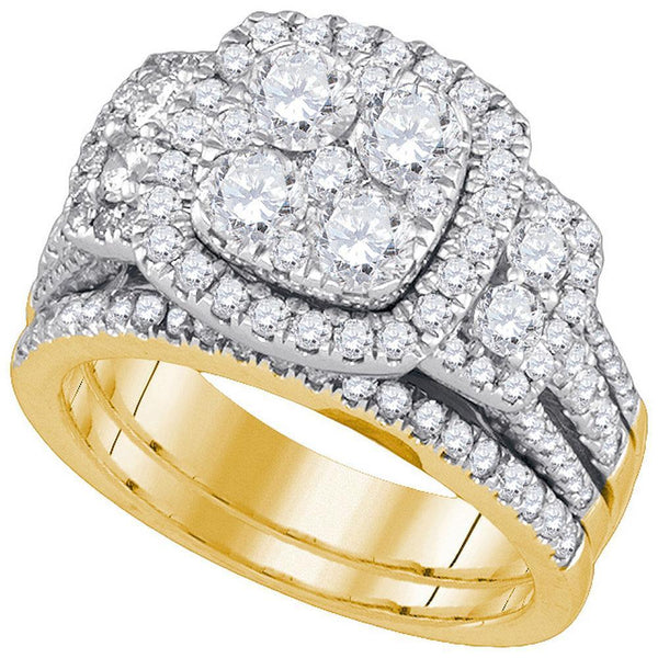 14kt Yellow Gold Women's Diamond Cluster Bridal or Engagement Ring Band Set 3.00 Cttw-Gold & Diamond Wedding Jewelry-JadeMoghul Inc.