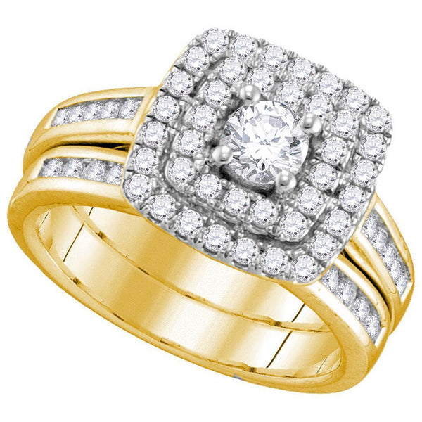 14kt Yellow Gold Women's Diamond Double Halo Bridal or Engagement Ring Band Set 1.00 Cttw-Gold & Diamond Wedding Jewelry-JadeMoghul Inc.