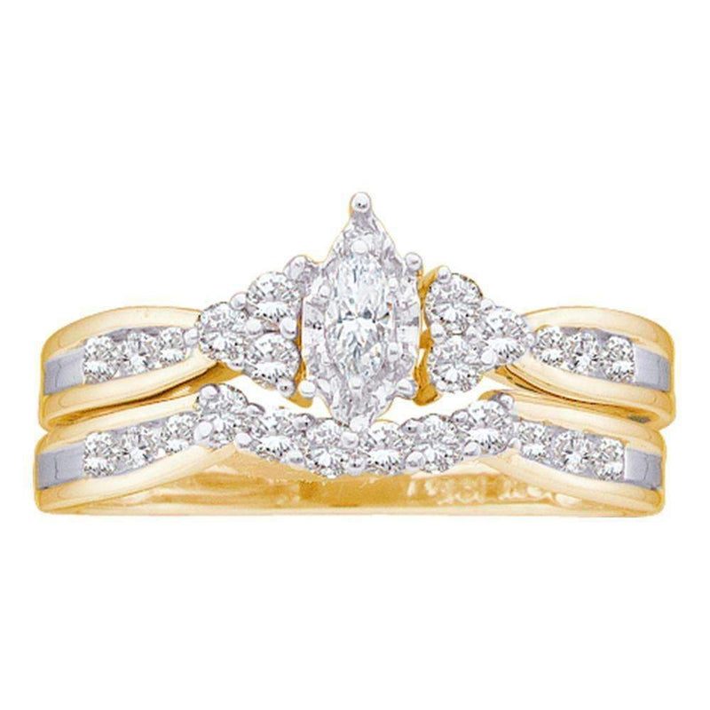 14kt Yellow Gold Women's Marquise Diamond Bridal Wedding Engagement Ring Band Set 1/2 Cttw - FREE Shipping (US/CAN)-Gold & Diamond Wedding Ring Sets-5-JadeMoghul Inc.