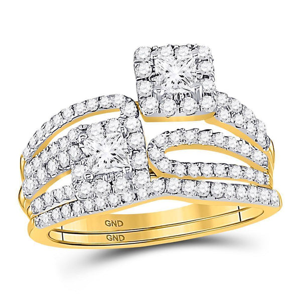 14kt Yellow Gold Women's Princess Diamond 2-Stone Bridal or Engagement Ring Band Set 1.00 Cttw-Gold & Diamond Wedding Jewelry-JadeMoghul Inc.