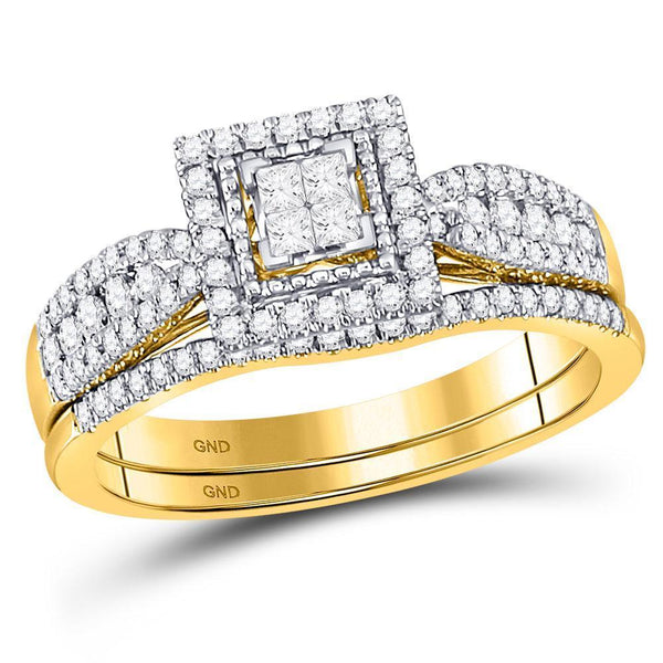 14kt Yellow Gold Women's Princess Diamond Bridal or Engagement Ring Band Set 1/2 Cttw-Gold & Diamond Wedding Jewelry-JadeMoghul Inc.