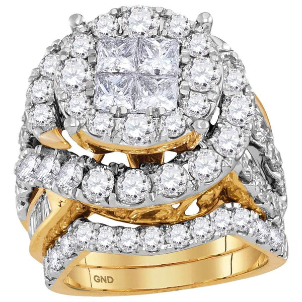 14kt Yellow Gold Women's Princess Diamond Bridal or Engagement Ring Band Set 5-5/8 Cttw-Gold & Diamond Wedding Jewelry-JadeMoghul Inc.
