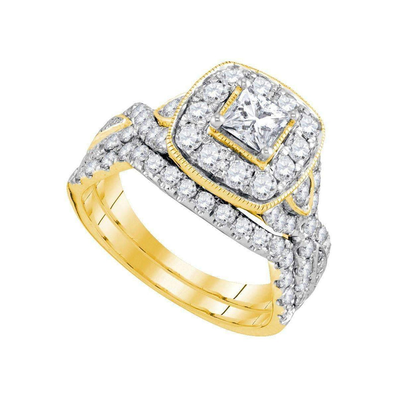 14kt Yellow Gold Women's Princess Diamond Bridal Wedding Engagement Ring Band Set 2.00 Cttw - FREE Shipping (US/CAN)-Gold & Diamond Wedding Ring Sets-5-JadeMoghul Inc.