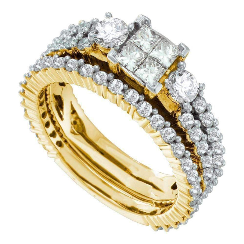 14kt Yellow Gold Womens Princess Diamond Cluster 3-Piece Bridal Wedding Engagement Ring Band Set 2.00 Cttw-Gold & Diamond Wedding Ring Sets-JadeMoghul Inc.