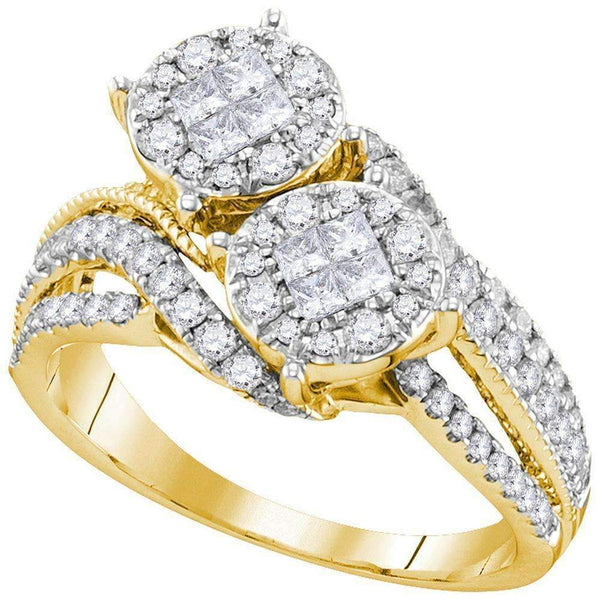 14kt Yellow Gold Womens Princess Diamond Cluster Bridal Wedding Engagement Ring 1.00 Cttw-Gold & Diamond Engagement & Anniversary Rings-JadeMoghul Inc.
