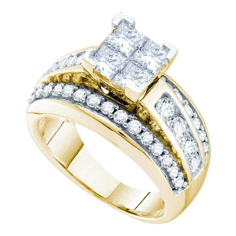 14kt Yellow Gold Women's Princess Diamond Elevated Cluster Bridal Wedding Engagement Ring 2.00 Cttw - FREE Shipping (US/CAN)-Gold & Diamond Engagement & Anniversary Rings-9-JadeMoghul Inc.