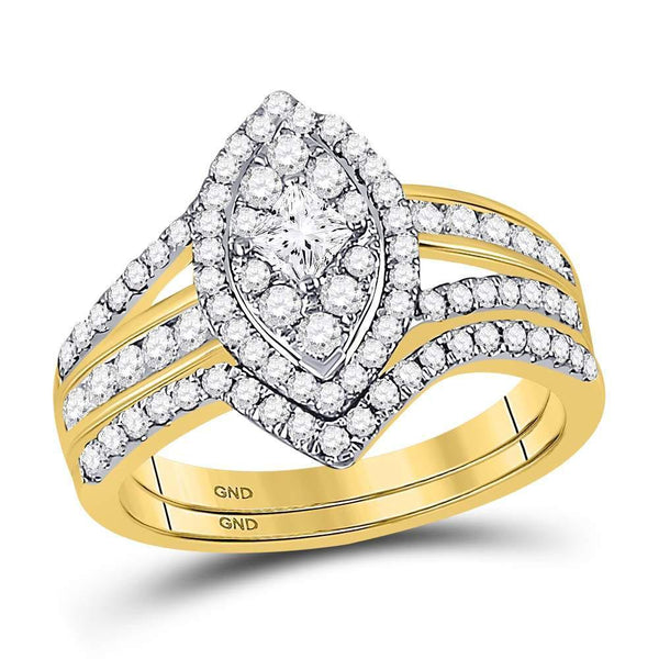 14kt Yellow Gold Women's Princess Diamond Oval Bridal or Engagement Ring Band Set 1.00 Cttw-Gold & Diamond Wedding Jewelry-JadeMoghul Inc.