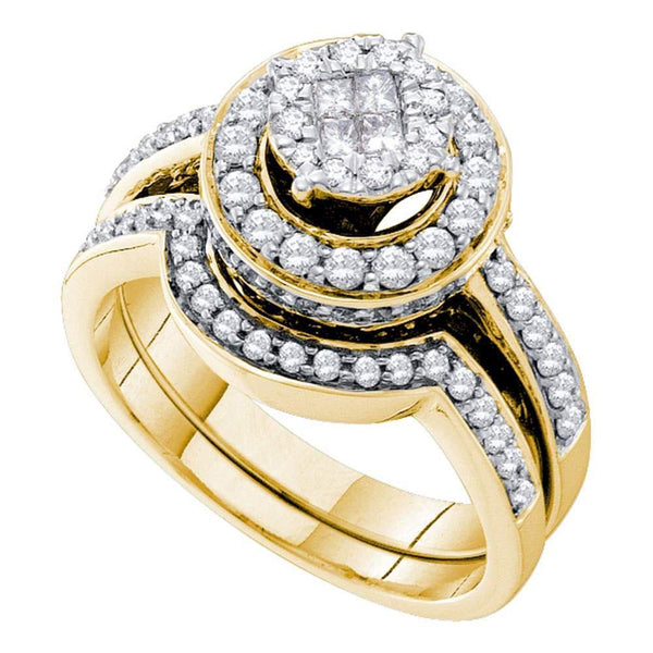 14kt Yellow Gold Women's Princess Diamond Soleil Bridal or Engagement Ring Band Set 1.00 Cttw-Gold & Diamond Wedding Jewelry-JadeMoghul Inc.