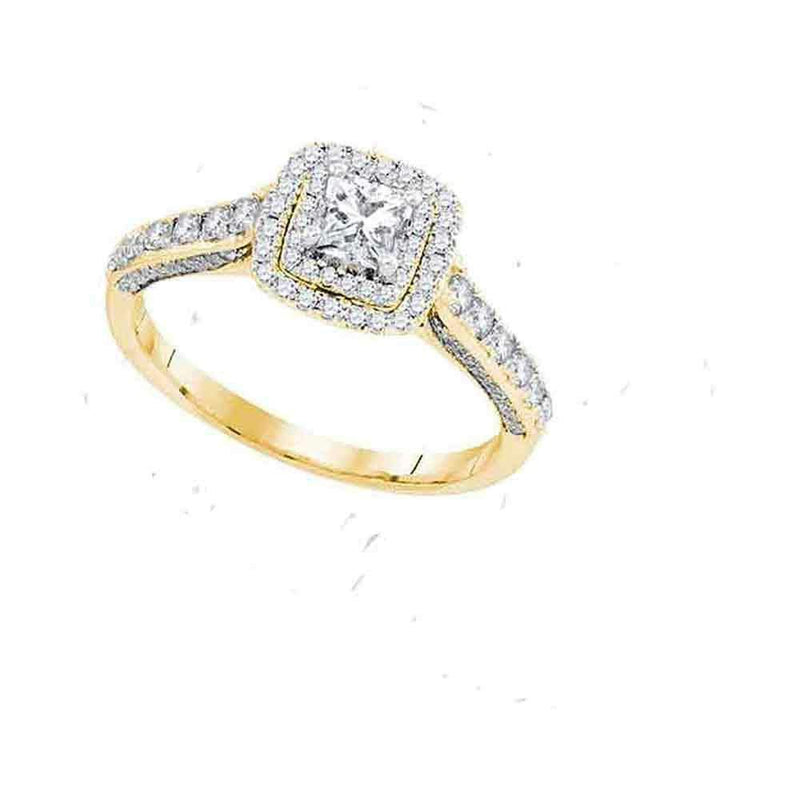 14kt Yellow Gold Women's Princess Diamond Solitaire Bridal Wedding Engagement Ring 1.00 Cttw - FREE Shipping (US/CAN) Size 10 (Certified)-Gold & Diamond Engagement & Anniversary Rings-9-JadeMoghul Inc.