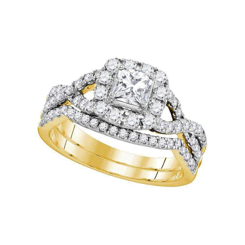14kt Yellow Gold Womens Princess Diamond Twist Bridal Wedding Engagement Ring Band Set 1.00 Cttw-Gold & Diamond Wedding Ring Sets-7-JadeMoghul Inc.