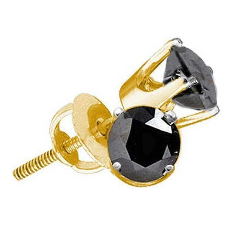 14kt Yellow Gold Women's Round Black Color Enhanced Diamond Solitaire Earrings 1-4 Cttw - FREE Shipping (US/CAN)-Gold & Diamond Earrings-JadeMoghul Inc.
