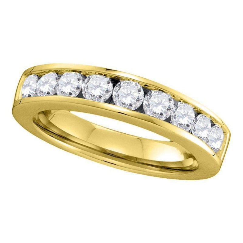 14kt Yellow Gold Women's Round Channel-set Diamond Single Row Wedding Band 1.00 Cttw - FREE Shipping (US/CAN) - Size 5-Gold & Diamond Wedding Jewelry-4-JadeMoghul Inc.