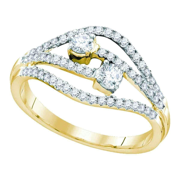 14kt Yellow Gold Womens Round Diamond 2-stone Bridal Wedding Engagement Ring 1-2 Cttw-Gold & Diamond Engagement & Anniversary Rings-JadeMoghul Inc.