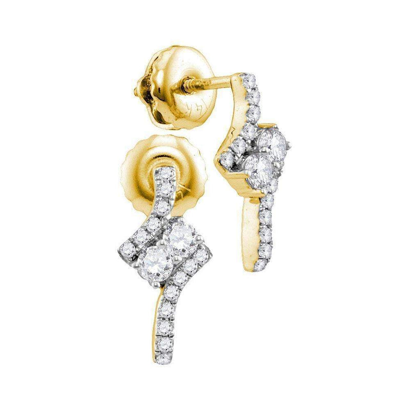 14kt Yellow Gold Women's Round Diamond 2-stone Earrings 1-4 Cttw - FREE Shipping (US/CAN)-Gold & Diamond Earrings-JadeMoghul Inc.