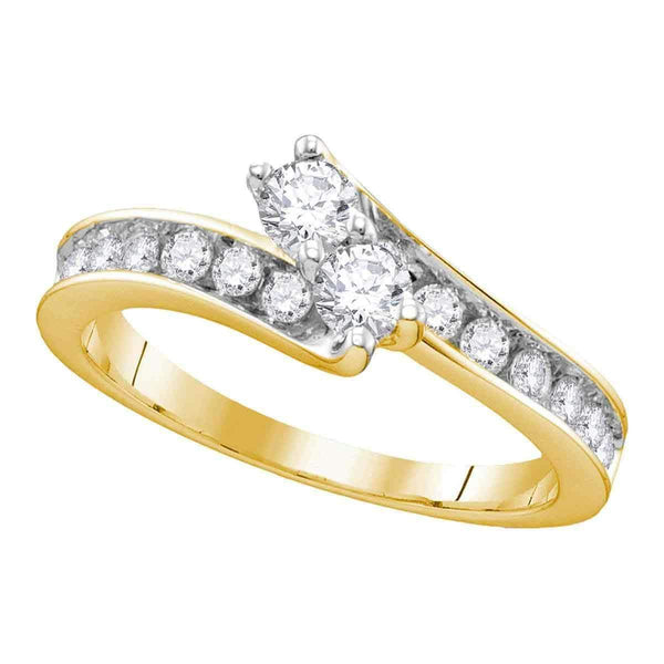 14kt Yellow Gold Womens Round Diamond 2-stone Hearts Together Bridal Wedding Engagement Ring 1-1/2 Cttw-Gold & Diamond Engagement & Anniversary Rings-8-JadeMoghul Inc.