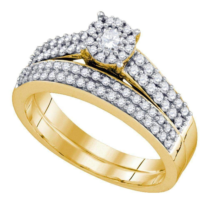 14kt Yellow Gold Women's Round Diamond Bridal Wedding Engagement Ring Band Set 5/8 Cttw - FREE Shipping (US/CAN)-Gold & Diamond Wedding Ring Sets-5-JadeMoghul Inc.