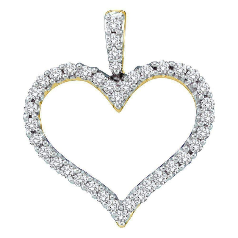 14kt Yellow Gold Women's Round Diamond Classic Heart Outline Pendant 3-8 Cttw - FREE Shipping (US/CAN)-Gold & Diamond Pendants & Necklaces-JadeMoghul Inc.