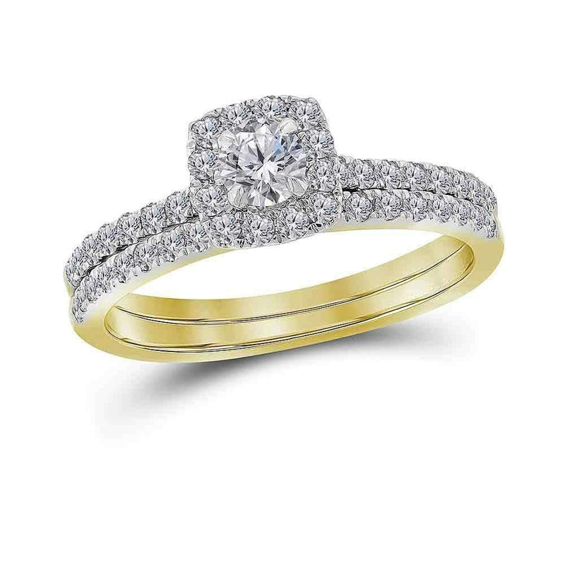 14kt Yellow Gold Women's Round Diamond Halo Bridal Wedding Engagement Ring Band Set 3/4 Cttw - FREE Shipping (US/CAN)-Gold & Diamond Wedding Ring Sets-5-JadeMoghul Inc.