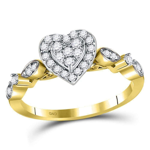 14kt Yellow Gold Womens Round Diamond Heart Cluster Ring 1/3 Cttw-Gold & Diamond Heart Rings-5-JadeMoghul Inc.