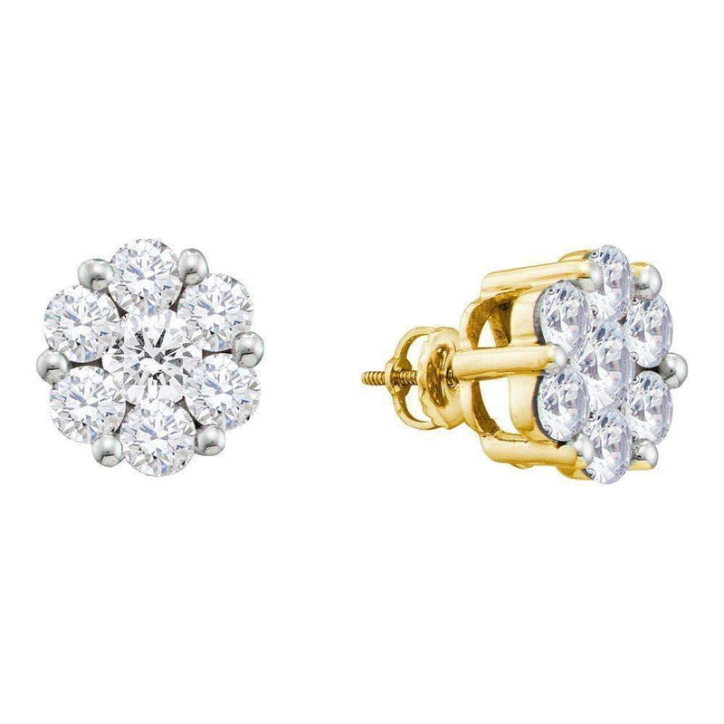 14kt Yellow Gold Women's Round Diamond Large Flower Cluster Stud Earrings 1-1-2 Cttw - FREE Shipping (US/CAN)-Gold & Diamond Earrings-JadeMoghul Inc.