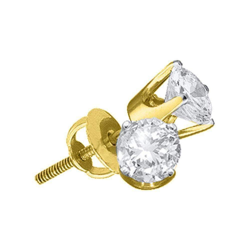 14kt Yellow Gold Women's Round Diamond Solitaire Stud Earrings 3-8 Cttw - FREE Shipping (US/CAN)-Gold & Diamond Earrings-JadeMoghul Inc.