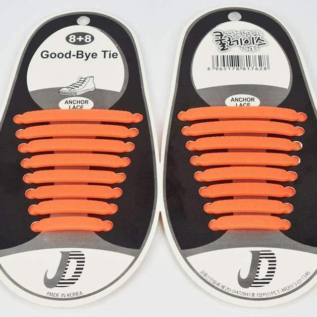 16pcs /Pair Fashion Unisex Athletic Running No Tie Shoelaces Women Men Elastic Silicone Shoe Lace All Sneakers Fit Strap-Orange-JadeMoghul Inc.