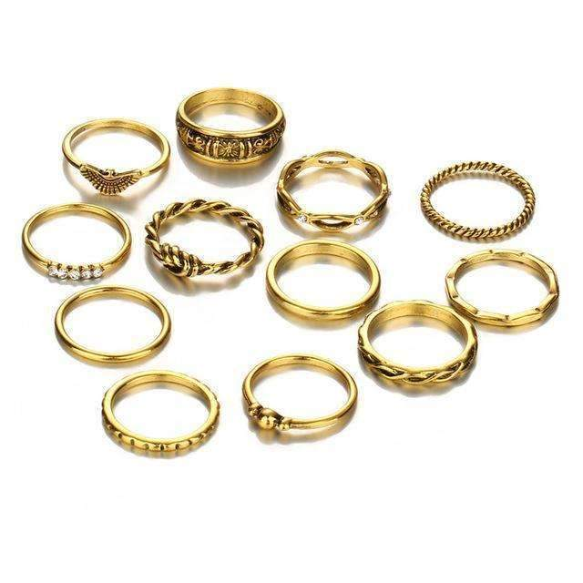 17KM 12 pc/set Charm Gold Color Midi Finger Ring Set for Women Vintage Boho Knuckle Party Rings Punk Jewelry Gift for Girl-RJCS41655-JadeMoghul Inc.