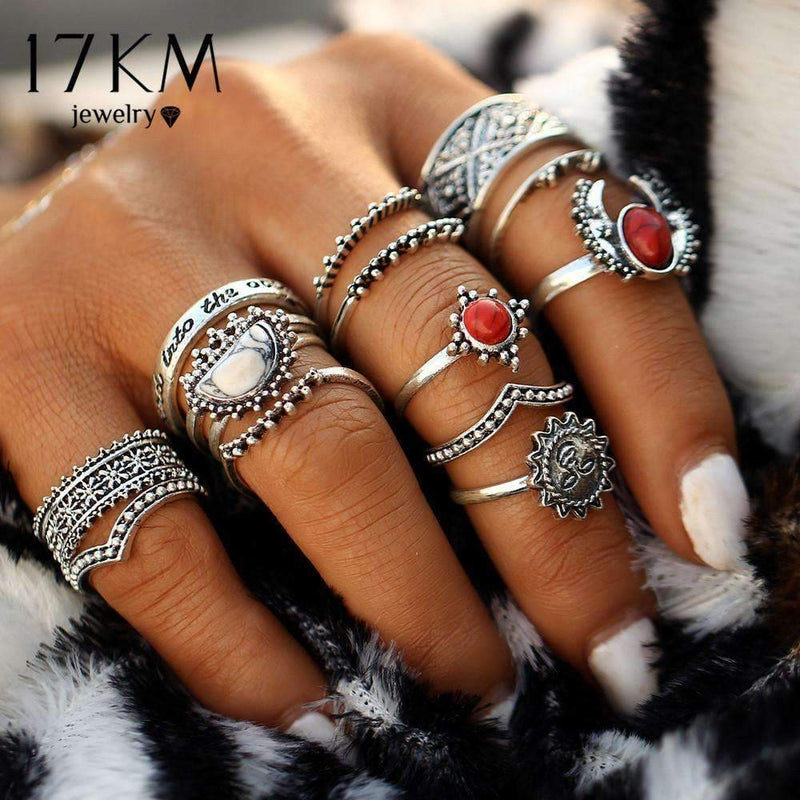 17KM 14pcs/Set Vintage Silver Color Moon And Sun Midi Ring Sets for Women Pattern Female Red Big Stone Knuckle Rings Gift--JadeMoghul Inc.