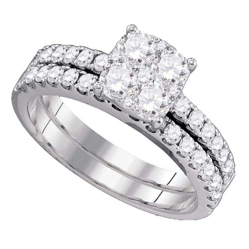 18kt White Gold Women's Round Diamond Bridal Wedding Engagement Ring Band Set 1-3/8 Cttw - FREE Shipping (US/CAN)-Gold & Diamond Wedding Ring Sets-6-JadeMoghul Inc.