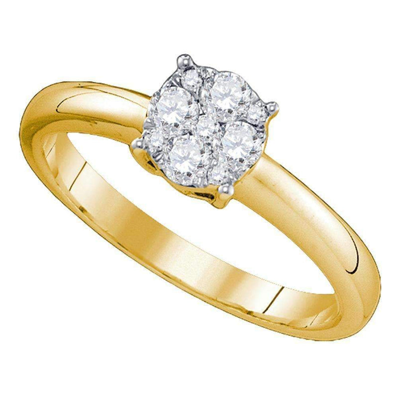 18kt Yellow Gold Women's Round Diamond Cluster Bridal Wedding Engagement Ring 1.00 Cttw - FREE Shipping (US/CAN)-Gold & Diamond Engagement & Anniversary Rings-5-JadeMoghul Inc.