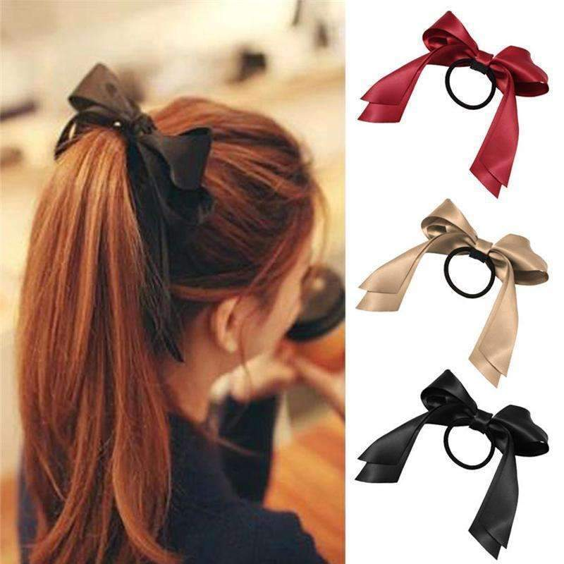 1pcs2017 Women Tiara Satin Ribbon Bow Hair Band Rope Scrunchie Ponytail Holder Gum For Hair Accessories Hairstyle Girl Headbands-Black-JadeMoghul Inc.