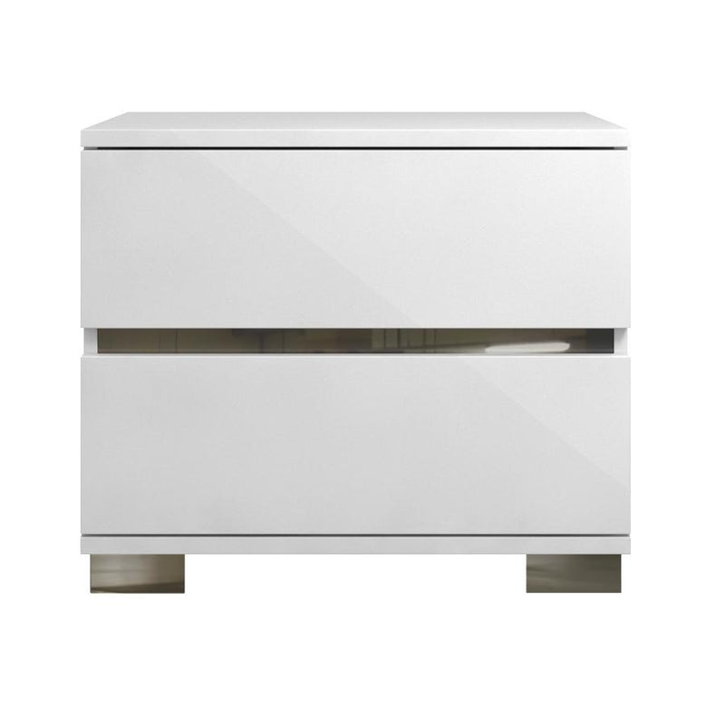 2 Drawer Nightstand With Chrome Legs White-Nightstands and Bedside Tables-White-Acrylic Lacquer-JadeMoghul Inc.
