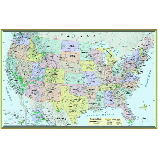 (2 EA) US MAP LAMINATED POSTER-Learning Materials-JadeMoghul Inc.
