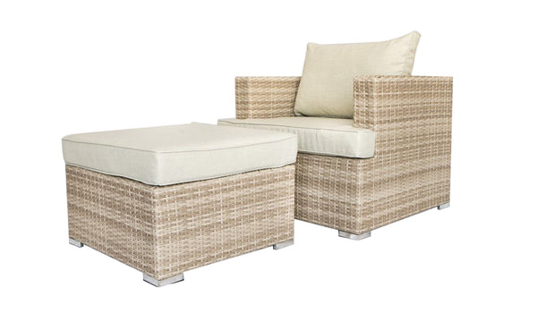 2 Piece Chair and Ottoman Set with Removable Fabric Padded Cushions, Beige and Brown-Patio Furniture-Beige and Brown-Aluminium, Rattan, fabric-JadeMoghul Inc.
