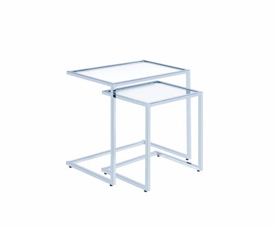 2 Piece Metal Framed Nesting Tables with Glass Top and Cantilever Base, Silver and Clear-Console Tables-Silver and Clear-Metal and Glass-JadeMoghul Inc.