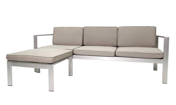 2 Piece Sectional Sofa Set with Ottoman and Removable Cushions, Gray and Silver-Patio Furniture-Gray and Silver-Aluminum and Fabric-JadeMoghul Inc.