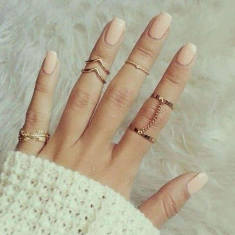 2015 New 6 units / lot Punk style bright gold Stacking midi finger knuckle rings charm ring jewelry sheet September Indoor-Gold-JadeMoghul Inc.