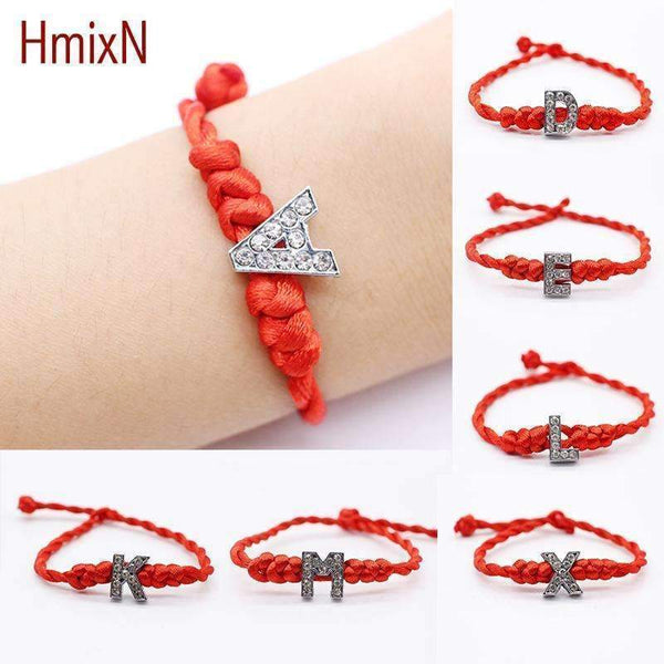 2016 New fashion Crystal Letters Charm Bracelet with Red Rope chain Lucky Bracelet Cord String Line Handmade Jewelry for unisex-A-JadeMoghul Inc.