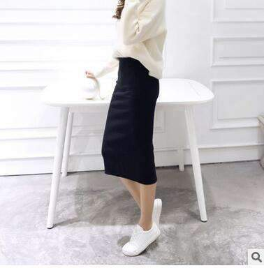 2016 spring Autumn And Winter package hip skirt slit skirts women step skirt stretch Slim thin female waist skirts Long skirts-black-One Size-JadeMoghul Inc.