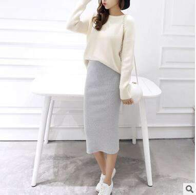 2016 spring Autumn And Winter package hip skirt slit skirts women step skirt stretch Slim thin female waist skirts Long skirts-Light gray-One Size-JadeMoghul Inc.