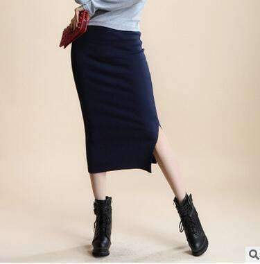 2016 spring Autumn And Winter package hip skirt slit skirts women step skirt stretch Slim thin female waist skirts Long skirts-Navy-One Size-JadeMoghul Inc.