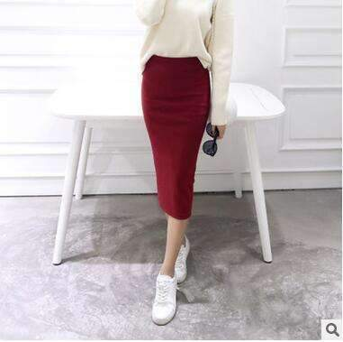 2016 spring Autumn And Winter package hip skirt slit skirts women step skirt stretch Slim thin female waist skirts Long skirts-Red wine-One Size-JadeMoghul Inc.