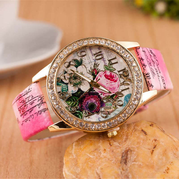 Fashion Palace Style Colorful Flowers Printed Watch